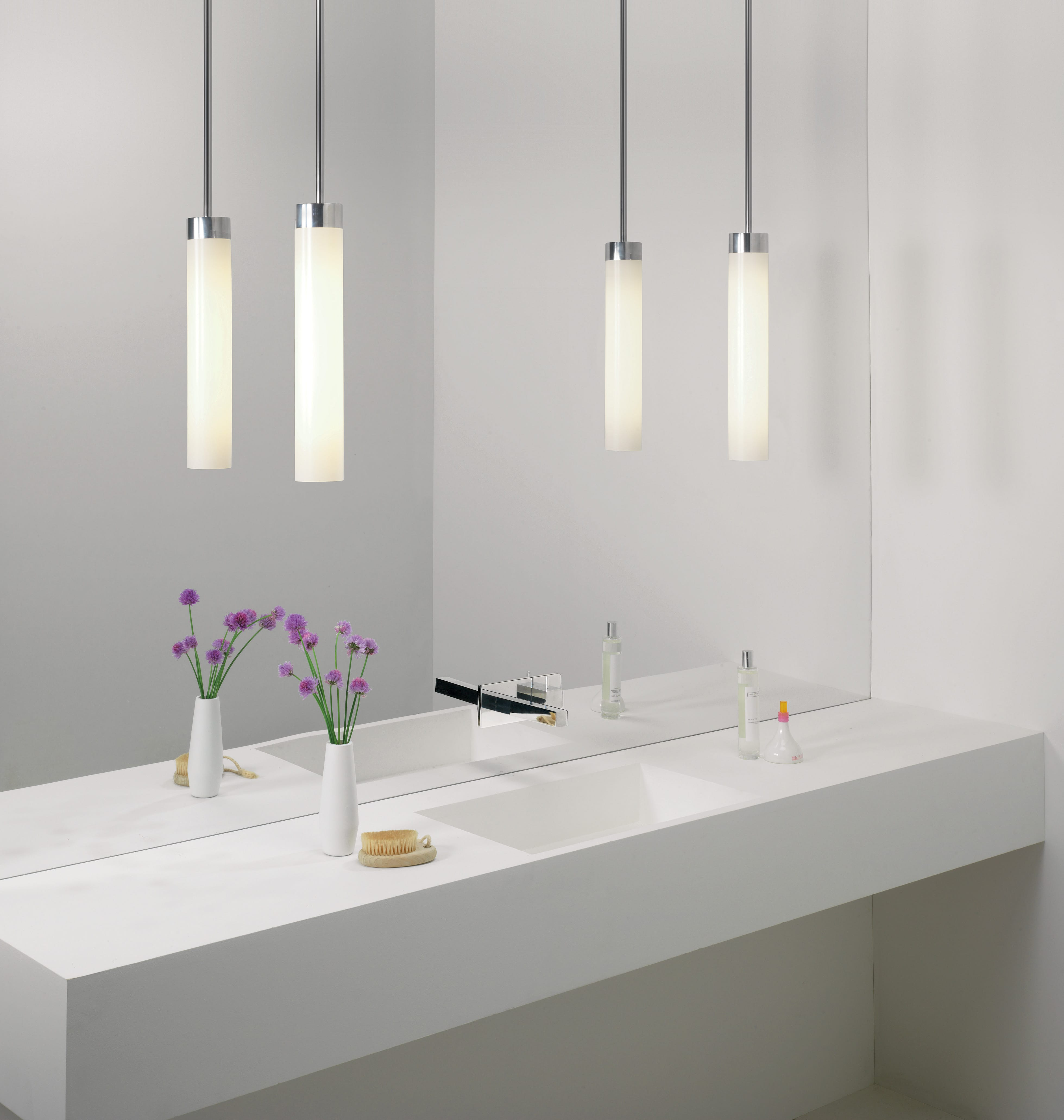 Luminaire Salle De Bain Style Industriel suspension kyoto led 1 lampe chrome poli