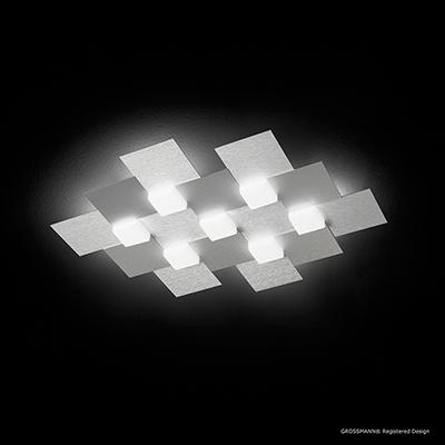 Plafonnier Creo aluminium brossé 7 lampes